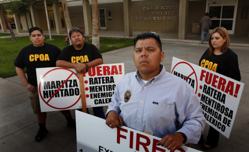 Former Patrol Sgt. Francisco Uriarte (fired after 14 1/2 years); Investigations Sgt. German Duran (fired after 24 years); Luis Casillas, police union president (also fired); Brenda Godinez, local resident and union supporter.
